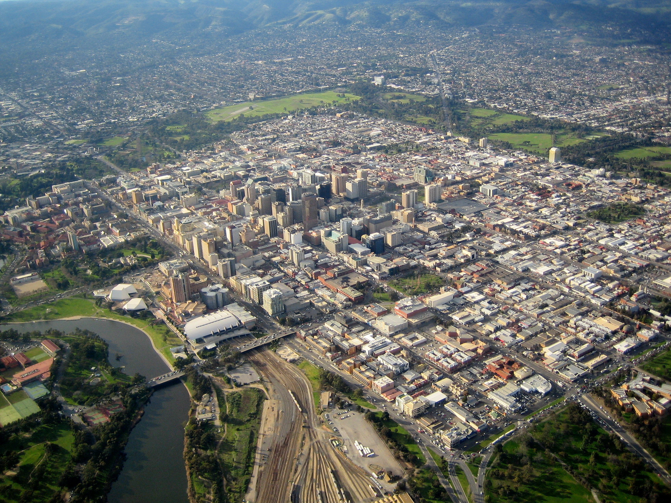 Overhead view of Adelaide CBD
