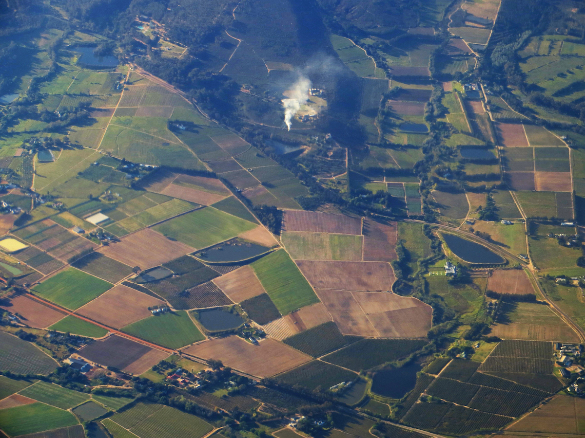 Overhead view of land in rural South Australia